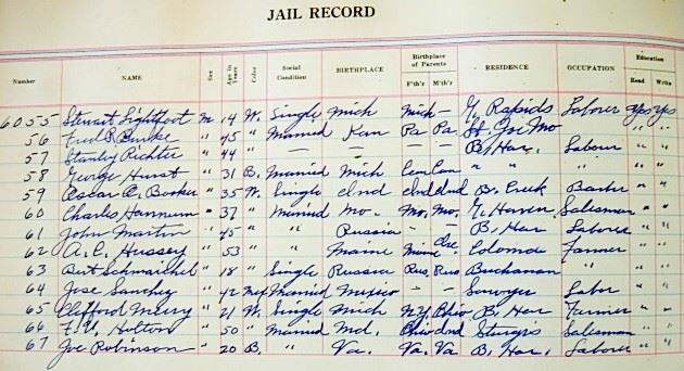 The Jail Booking Ledger for March 29, 1931