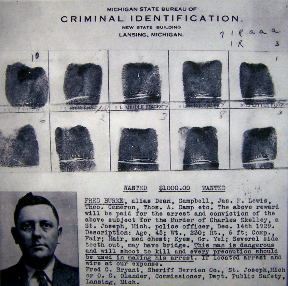 Fred Burke Wanted Poster